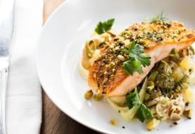 Up Your Dinner Game With This Seared Salmon + Green Potato Salad